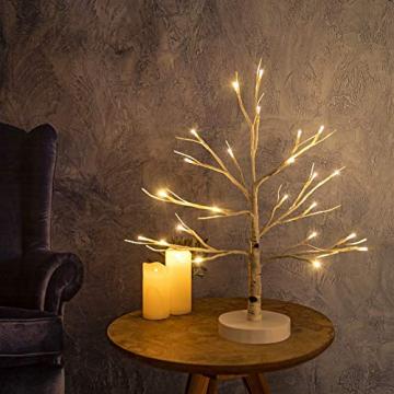 Hypestar Dekoratives Lichterbaum | Leuchtbaum mit 24 Warmweißer LEDs Licht | 45cm Lichterzweige für Tischdekoration | Zeitschaltuhr USB und Batterien | Weihnachten Ostern Party Innendeko (24led Weiß) - 5