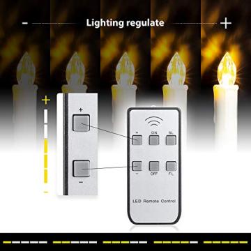 ILEBYGO 30er Kabellos LED Kerzen Lichterkette Kerzen Weihnachtskerzen Weihnachtsbaum Kerzen mit Fernbedienung - 5