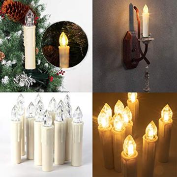 ILEBYGO 30er Kabellos LED Kerzen Lichterkette Kerzen Weihnachtskerzen Weihnachtsbaum Kerzen mit Fernbedienung - 7
