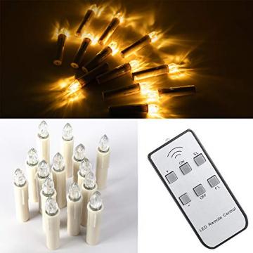 ILEBYGO 30er Kabellos LED Kerzen Lichterkette Kerzen Weihnachtskerzen Weihnachtsbaum Kerzen mit Fernbedienung - 8
