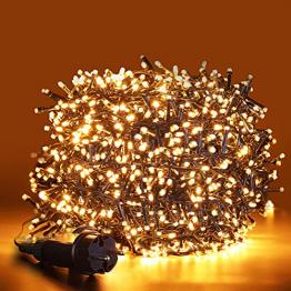 ilikable 25M Lichterkette Außen 1000leds, warmweiße Weihnachtsbeleuchtung Außen, 8 Modi Lichterkette mit IP44 Wasserdicht für Garten, Balkon, Terrasse, Tor, Hof, Hochzeit, Party (Warmweiß) - 1