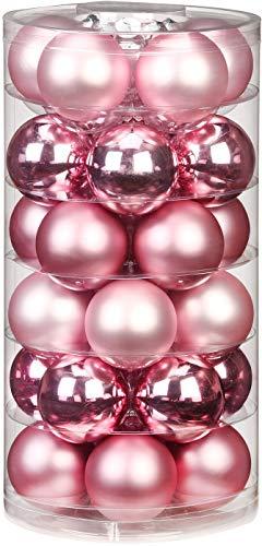 Inge Glas Weihnachtskugeln | Schöne Christbaumkugeln aus Glas | 30 Kugen in Dose | Christbaumschmuck Weihnachtsbaumschmuck Weihnachtsbaumkugeln (Pink Blush | rosa Glanz/matt) - 1