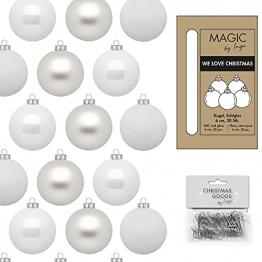 IngeGlas 30 Christbaumkugeln aus Glas - Durchmesser Ø 6,0 cm - Weihnachtskugeln für Tannenbaum - inkl. 100 Aufhänger (Just White - weiß matt / glänzend) - 1