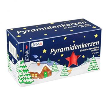 JEKA Pyramidenkerzen klein, rot ca. 14 x 74 mm 50 Stück/Pack, Weihnachtskerzen, Adventskerzen, Christbaumkerzen, Baumkerzen, Kerzen - 1