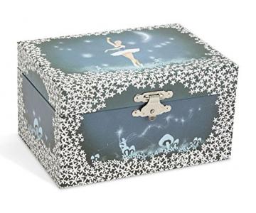 Jewelkeeper - Spieluhr Schmuckkästchen für Mädchen mit drehender Fee und Stern Design in Blau und Weiß - Schwanensee Melodie - 2