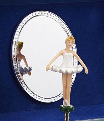 Jewelkeeper - Spieluhr Schmuckkästchen für Mädchen mit drehender Fee und Stern Design in Blau und Weiß - Schwanensee Melodie - 4