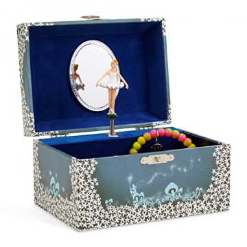 Jewelkeeper - Spieluhr Schmuckkästchen für Mädchen mit drehender Fee und Stern Design in Blau und Weiß - Schwanensee Melodie - 1