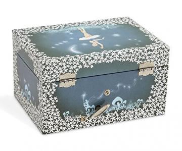 Jewelkeeper - Spieluhr Schmuckkästchen für Mädchen mit drehender Fee und Stern Design in Blau und Weiß - Schwanensee Melodie - 5