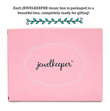 Jewelkeeper - Spieluhr Schmuckkästchen für Mädchen mit drehender Fee und Stern Design in Blau und Weiß - Schwanensee Melodie - 6