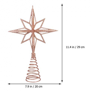 jojofuny Glitzernde Christbaumspitzen Weihnachtsbaum Topper Stern Metall Baumauflage Weihnachtsbaumdekor Roségold - 3