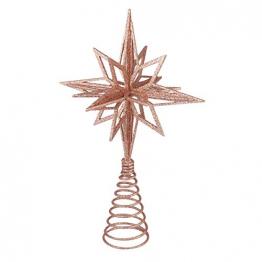 jojofuny Glitzernde Christbaumspitzen Weihnachtsbaum Topper Stern Metall Baumauflage Weihnachtsbaumdekor Roségold - 1
