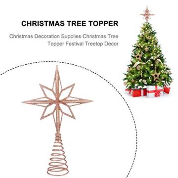 jojofuny Glitzernde Christbaumspitzen Weihnachtsbaum Topper Stern Metall Baumauflage Weihnachtsbaumdekor Roségold - 5