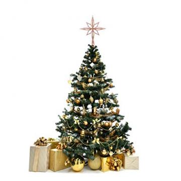 jojofuny Glitzernde Christbaumspitzen Weihnachtsbaum Topper Stern Metall Baumauflage Weihnachtsbaumdekor Roségold - 8