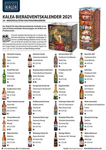 KALEA Bier-Adventskalender, 24 x 0,33 L Bierspezialitäten von Privatbrauereien aus Deutschland und 1 Verkostungsglas, neue Bestückung 2021, Biergeschenk zur Vorweihnachtszeit für alle Bierliebhaber - 3