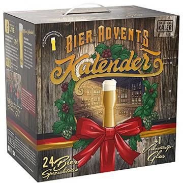KALEA Bier-Adventskalender, 24 x 0,33 L Bierspezialitäten von Privatbrauereien aus Deutschland und 1 Verkostungsglas, neue Bestückung 2021, Biergeschenk zur Vorweihnachtszeit für alle Bierliebhaber - 1