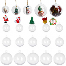 KATELUO 15 Stücke Klar Weihnachtskugeln, Plastik-Kugeln, Füllbare Weihnachtsplastikkugeln,fürBefüllen und Dekorieren Christbaumschmuck, Tischdekoration, Weihnachtssouvenirs - 1