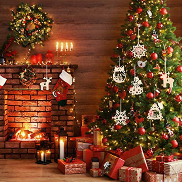 KATELUO 60 Stück Holz Weihnachten Anhänger, DIY Weihnachtsdekoration Holz, Weihnachtsbaumschmuck Holz für Zuhause, Party, Festival, Weihnachten Weihnachtsbaum Deko Geschenke - 2