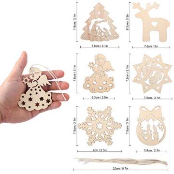 KATELUO 60 Stück Holz Weihnachten Anhänger, DIY Weihnachtsdekoration Holz, Weihnachtsbaumschmuck Holz für Zuhause, Party, Festival, Weihnachten Weihnachtsbaum Deko Geschenke - 4