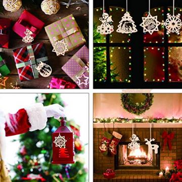 KATELUO 60 Stück Holz Weihnachten Anhänger, DIY Weihnachtsdekoration Holz, Weihnachtsbaumschmuck Holz für Zuhause, Party, Festival, Weihnachten Weihnachtsbaum Deko Geschenke - 5