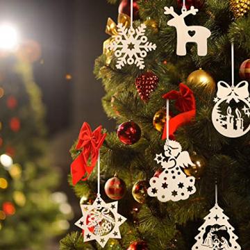 KATELUO 60 Stück Holz Weihnachten Anhänger, DIY Weihnachtsdekoration Holz, Weihnachtsbaumschmuck Holz für Zuhause, Party, Festival, Weihnachten Weihnachtsbaum Deko Geschenke - 6