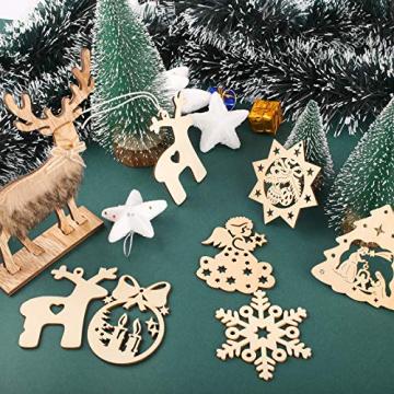 KATELUO 60 Stück Holz Weihnachten Anhänger, DIY Weihnachtsdekoration Holz, Weihnachtsbaumschmuck Holz für Zuhause, Party, Festival, Weihnachten Weihnachtsbaum Deko Geschenke - 7