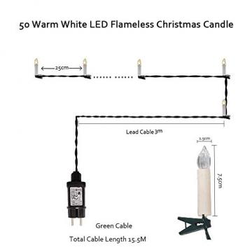 Kerzen Lichterkette, THOWALL 15.5M 50er LED Weihnachtsbaum Lichterkette mit Klemmen, Flammenloses LED Kerzen Dekoration für Weihnachtsbaum, Weihnachtsdeko, Hochzeit, Geburtstags, Party, Warmweiß - 2