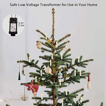 Kerzen Lichterkette, THOWALL 15.5M 50er LED Weihnachtsbaum Lichterkette mit Klemmen, Flammenloses LED Kerzen Dekoration für Weihnachtsbaum, Weihnachtsdeko, Hochzeit, Geburtstags, Party, Warmweiß - 3