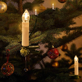 Kerzen Lichterkette, THOWALL 15.5M 50er LED Weihnachtsbaum Lichterkette mit Klemmen, Flammenloses LED Kerzen Dekoration für Weihnachtsbaum, Weihnachtsdeko, Hochzeit, Geburtstags, Party, Warmweiß - 1