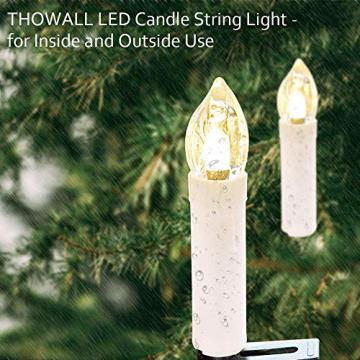 Kerzen Lichterkette, THOWALL 15.5M 50er LED Weihnachtsbaum Lichterkette mit Klemmen, Flammenloses LED Kerzen Dekoration für Weihnachtsbaum, Weihnachtsdeko, Hochzeit, Geburtstags, Party, Warmweiß - 4
