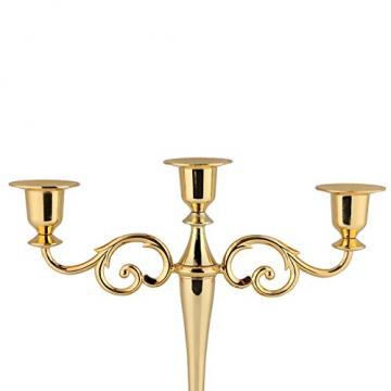 Kerzenhalter 3 Armig Kerzenständer Metall Kerzenhalter Kandelaber Weihnachten Kerzenhalter Für Weihnachten Geburtstagsgeschenk Wohnkultur(Gold) - 5