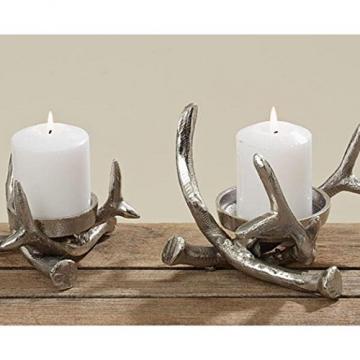 Kerzenständer Kerzenleuchter Metall Geweih Advent Tischdeko Leuchter - 1