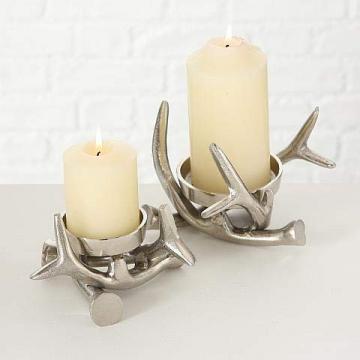 Kerzenständer Kerzenleuchter Metall Geweih Advent Tischdeko Leuchter - 3