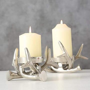 Kerzenständer Kerzenleuchter Metall Geweih Advent Tischdeko Leuchter - 4