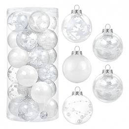 Kesote 24 Weihnachtskugeln Weiß Christbaumkugeln Glitzer Kugel Weihnachten zum Befüllen Weihnachtsbaumschmuck Deko Basteln, 6 cm - 1