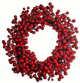 khevga Tür-Kranz Winter Weihnachten Rote Beeren (1, 40) - 1