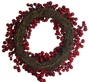 khevga Tür-Kranz Winter Weihnachten Rote Beeren (1, 40) - 3