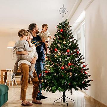 Kinin Weihnachtsbaum Stern - Christbaumspitze Stern Verzierung, Glitzende Christbaumspitze Weihnachtsbaumdeko, Weihnachtsbaumspitze Fünfzackiger Stern Christbaumschmuck - 5