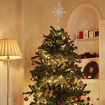 Kinin Weihnachtsbaum Stern - Christbaumspitze Stern Verzierung, Glitzende Christbaumspitze Weihnachtsbaumdeko, Weihnachtsbaumspitze Fünfzackiger Stern Christbaumschmuck - 6