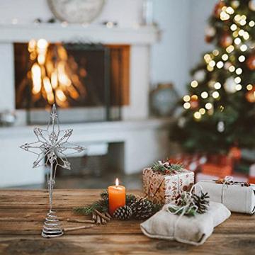 Kinin Weihnachtsbaum Stern - Christbaumspitze Stern Verzierung, Glitzende Christbaumspitze Weihnachtsbaumdeko, Weihnachtsbaumspitze Fünfzackiger Stern Christbaumschmuck - 7