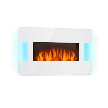 Klarstein Belfort Light & Fire Elektrischer Kamin mit Flammeneffekt - Elektrokamin, E-Kamin, 1000 oder 2000 Watt, Thermostat, Timer, Ambiente-Beleuchtung, Fernbedienung, Wandmontage, weiß - 1
