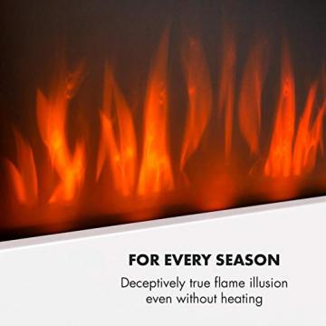 Klarstein Belfort Light & Fire Elektrischer Kamin mit Flammeneffekt - Elektrokamin, E-Kamin, 1000 oder 2000 Watt, Thermostat, Timer, Ambiente-Beleuchtung, Fernbedienung, Wandmontage, weiß - 6