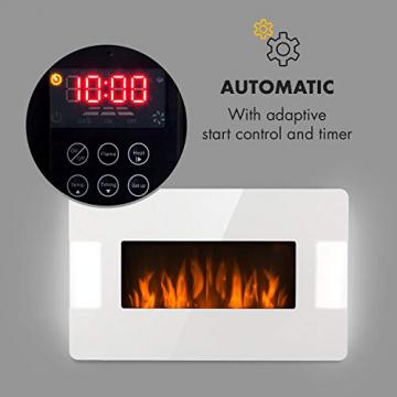 Klarstein Belfort Light & Fire Elektrischer Kamin mit Flammeneffekt - Elektrokamin, E-Kamin, 1000 oder 2000 Watt, Thermostat, Timer, Ambiente-Beleuchtung, Fernbedienung, Wandmontage, weiß - 7