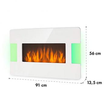 Klarstein Belfort Light & Fire Elektrischer Kamin mit Flammeneffekt - Elektrokamin, E-Kamin, 1000 oder 2000 Watt, Thermostat, Timer, Ambiente-Beleuchtung, Fernbedienung, Wandmontage, weiß - 9