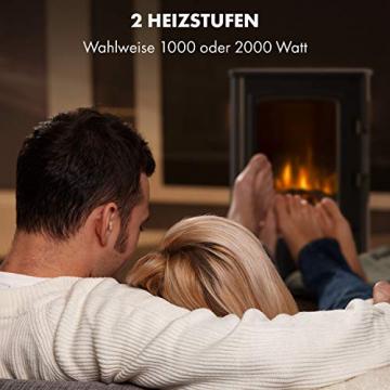 Klarstein Bormio Panorama Elektrokamin - 1000/2000 W Kamin elektrisch, Elektro Kamin mit 3-teiligem Panorama-Sichtfenster, Thermostat, zuschaltbare Heizung, Überhitzungsschutz, pechschwarz - 4