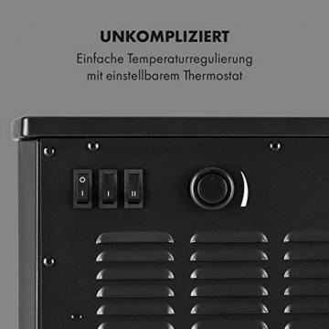 Klarstein Bormio Panorama Elektrokamin - 1000/2000 W Kamin elektrisch, Elektro Kamin mit 3-teiligem Panorama-Sichtfenster, Thermostat, zuschaltbare Heizung, Überhitzungsschutz, pechschwarz - 7