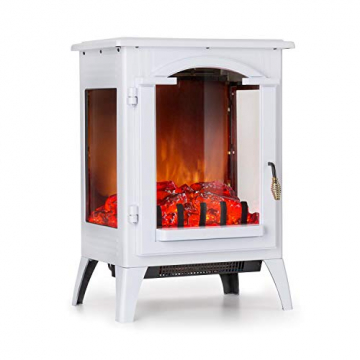 Klarstein Graz Elektrischer Kamin mit Flammeneffekt - Elektrokamin, E-Kamin, 1000/2000 Watt, bis zu 30 m², Thermostat, Heizfunktion, stufenlos dimm- und heizbar, PanoramaView, weiß - 1