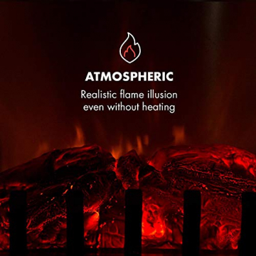 Klarstein Graz Elektrischer Kamin mit Flammeneffekt - Elektrokamin, E-Kamin, 1000/2000 Watt, bis zu 30 m², Thermostat, Heizfunktion, stufenlos dimm- und heizbar, PanoramaView, weiß - 6
