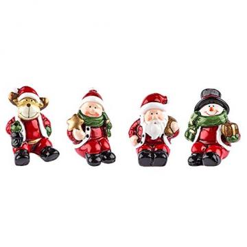 Kleine Deko-Figuren | Weihnachten | 4 Stück | Rentier, Weihnachtsmann, Schneemann & Winterkind | Weihnachtsfiguren ideal zum Basteln oder als Tischdeko (Figuren sitzend | ca. 6 cm hoch) - 1