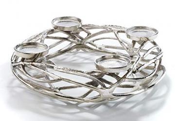Kobolo Deko-Kranz Adventskranz groß - Metall - Silber - für 4 Kerzen - D40 cm - 1