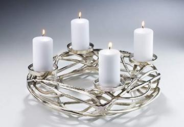 Kobolo Deko-Kranz Adventskranz groß - Metall - Silber - für 4 Kerzen - D40 cm - 2